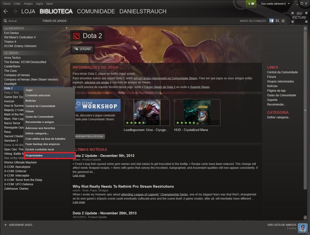 """Altere a prioridade do update dos seus jogos clicando em """"propriedade"""", após selecionar o game com o botão direito do mouse (Foto: Reprodução/Daniel Ribeiro)"""