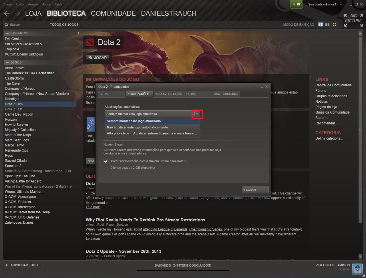 Clique no comando indicado para configurar a prioridade da atualização automática do game (Foto: Reprodução/Daniel Ribeiro)