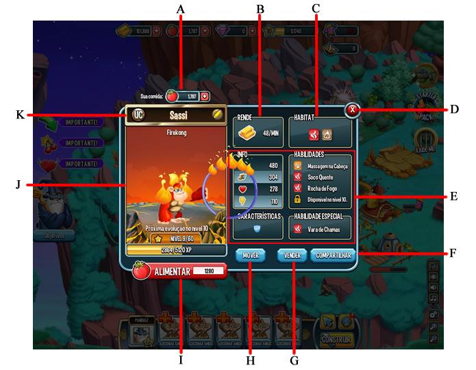 Interface com as informações da criatura (Foto: Reprodução/Daniel Ribeiro)