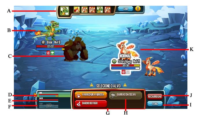 A interface dos combates (Foto: Reprodução/Daniel Ribeiro)