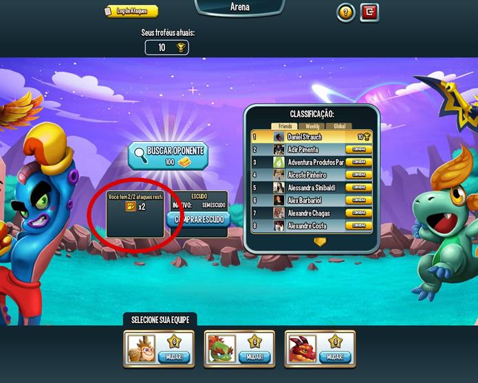 Interface dos duelos entre jogadores indicando a localização dos pontos de ataque (Foto: Reprodução/Daniel Ribeiro)