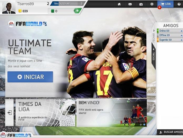 Este é o menu inicial do FUT no Fifa World (Foto: Reprodução/Thiago Barros)