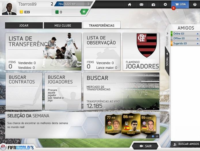 Menu de transferências do Fifa World (Foto: Reprodução/Thiago Barros)