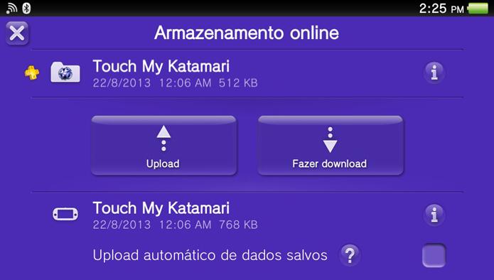 Passo 4 - Neste menu você poderá escolher entre fazer upload ou download de saves (Foto: Reprodução)