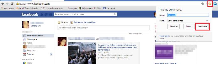 Adicionando o Facebook como favorito no Chrome (Foto: Reprodução/Lívia Dâmaso)