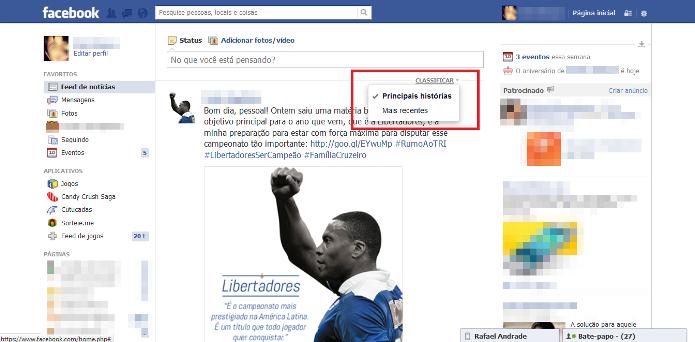 Menu para classificar o filtro do feed de notícias no Facebook (Foto: Reprodução/Lívia Dâmaso)