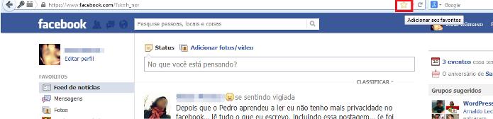 Adicionando o Facebook como favorito no Firefox (Foto: Reprodução/Lívia Dâmaso)