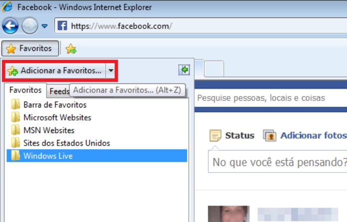 Adicionando o Facebook como favorito no Internet Explorer (Foto: Reprodução/Lívia Dâmaso)