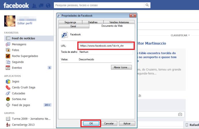 Substituindo a URL do Facebook salvo como favorito (Foto: Reprodução/Lívia Dâmaso)