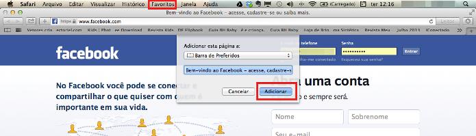 Adicionando o Facebook como favorito no Safári (Foto: Reprodução/Lívia Dâmaso)