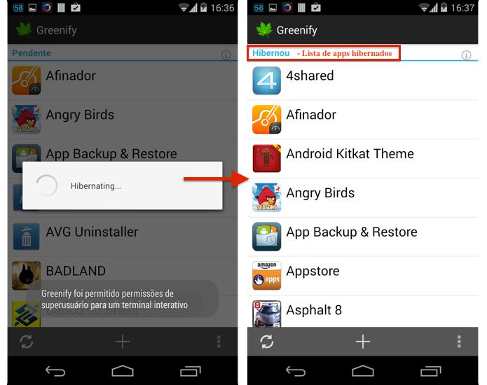 Lista com apps hibernados (Foto: Reprodução/Thiago Bittencourt)