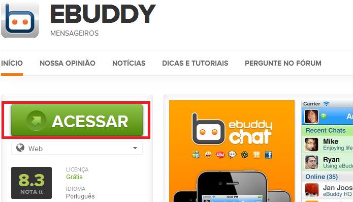 Acessando o site do eBudddy a partir do TechTudo Downloads (Foto: Reprodução/Edivaldo Brito)