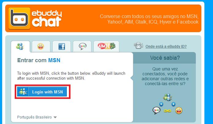 Clicando no botão Login with MSN para autorizar o acesso à conta (Foto: Reprodução/Edivaldo Brito)