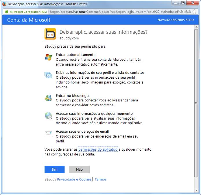 Autorizando o acesso do eBuddy na conta Microsoft (Foto: Reprodução/Edivaldo Brito)