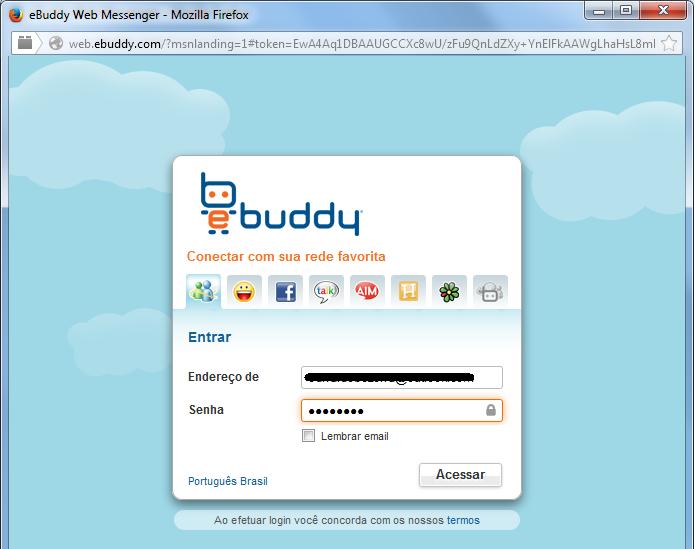 Colocando com os dados da conta Microsoft para entrar no chat (Foto: Reprodução/Edivaldo Brito)