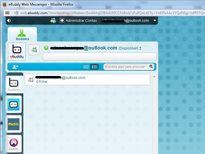 Usando o chat do eBuddy logado na conta Microsoft (Foto: Reprodução/Edivaldo Brito)