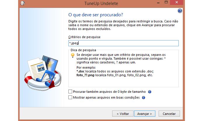 Digite palavras-chave ou o formato do arquivo que deseja restaurar (Foto: Reprodução/Paulo Alves)