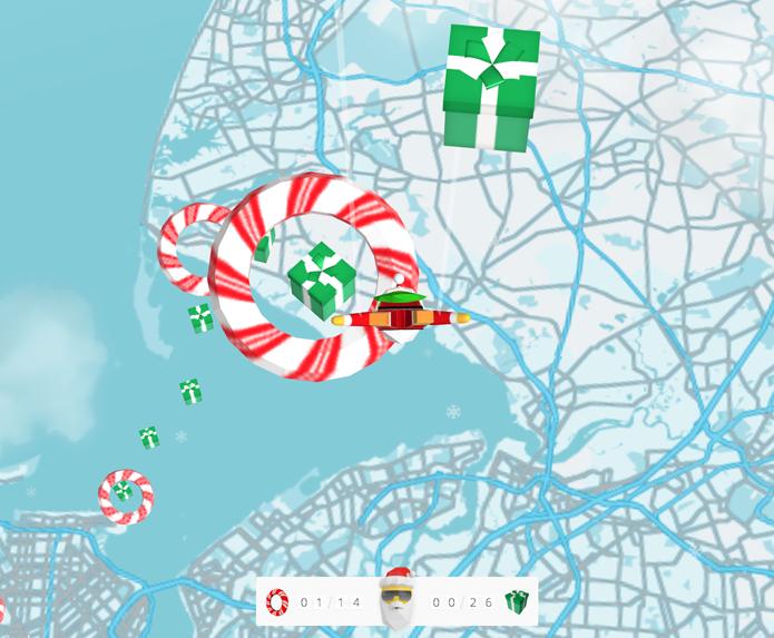 Jogo do Google permite coletar presentes nos céus de cidades ao redor do mundo (foto: Reprodução/Google)