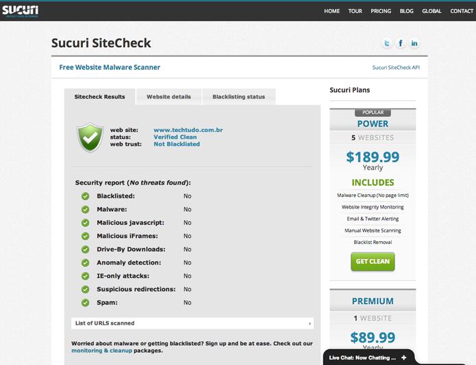 Sucuri SiteCheck (Foto: Reprodução/Marvin Costa)