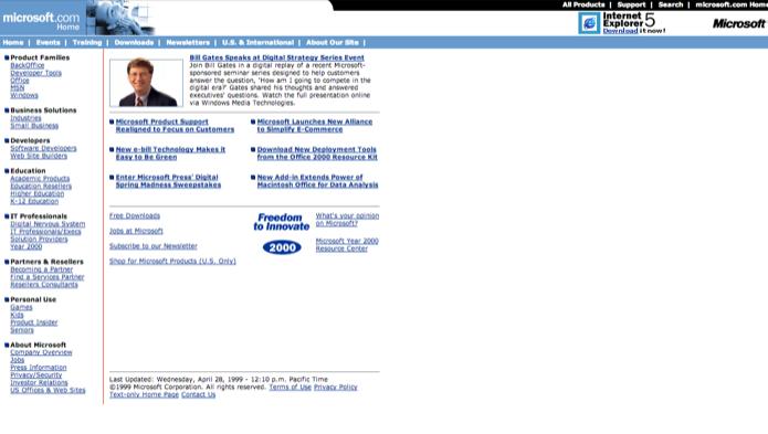 Site da Microsot em abril de 1999 (Foto: Reprodução/Marvin Costa)