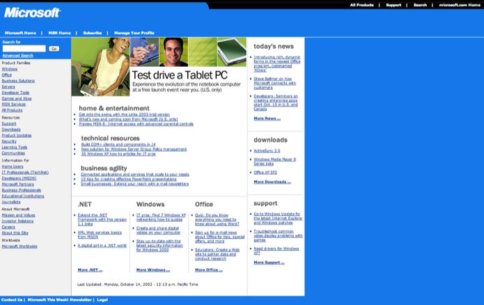 Site da Microsoft em outubro de 2002 (Foto: Reprodução/Marvin Costa)