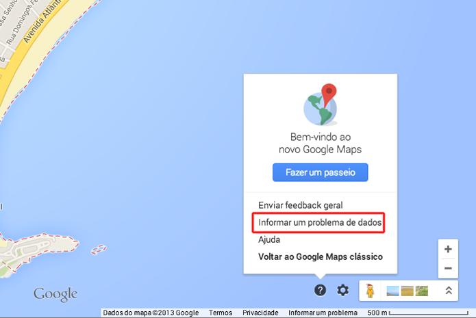 Informando um problema de dados no Google Mapas (Foto: Reprodução/Marvin Costa)