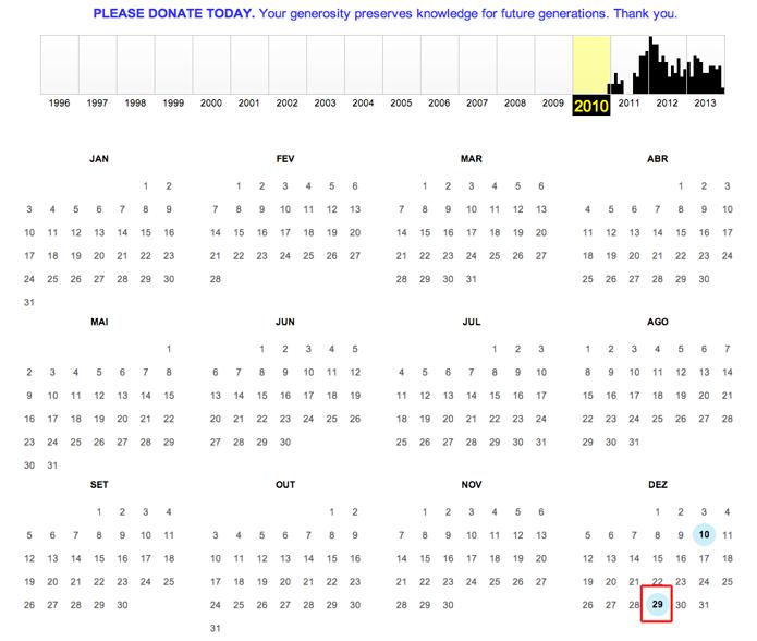Clicando sobre uma data que contenha um snapshot do Internet Archive Wayback Machine (Foto: Reprodução/Marvin Costa)