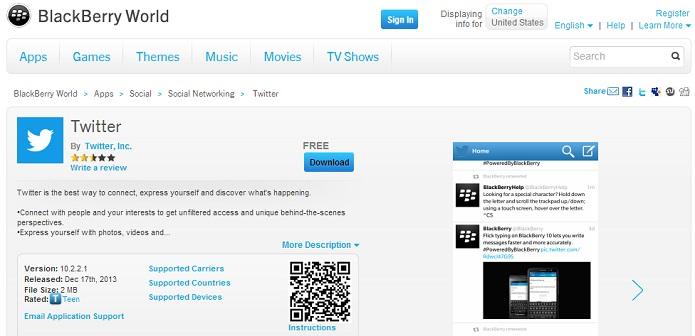 Twitter para BlackBerry foi atualizado (Foto: Divulgação/BlackBerry)