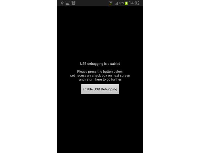 """Se a depuração por USB estiver desativada, clique no botão """"Enable USB Debugging"""" para habilitar esta função nas configurações do sistema (Foto: Reprodução/Daniel Ribeiro)"""