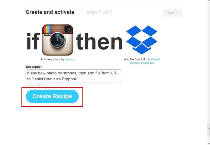 Observe se as ações e os apps estão corretos e termine a fórmula clicando no botão em azul (Foto: Reprodução/Daniel Ribeiro)
