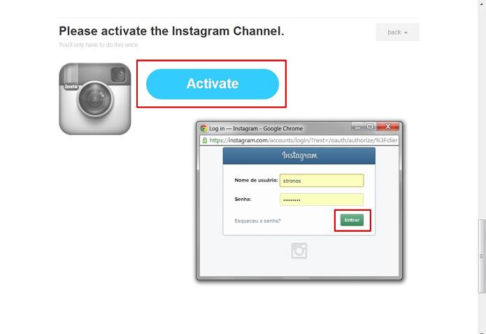 """Após clicar em """"Activate"""", faça o login em sua conta de Instagram (Foto: Reprodução/Daniel Ribeiro)"""
