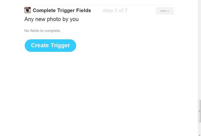 """Visualize o resumo da primeira parte de sua fórmula e clique em """"Create a trigger"""" (Foto: Reprodução/Daniel Ribeiro)"""