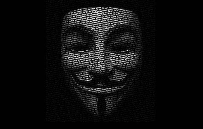 A máscara de Guy Fawkes, personagem do filme V de Vingança é um dos símbolos do grupo Anonymous