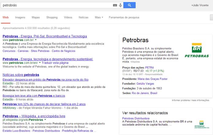 Informações de empresas podem ser conseguidas pelo Google (foto: Reprodução/Google)