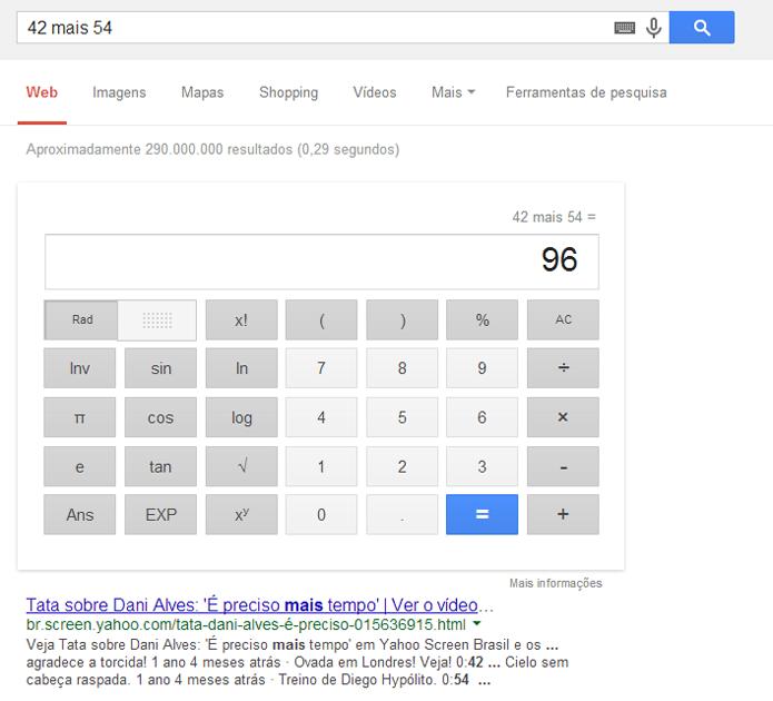 Reconhecimento de voz pode ativar calculadora do Google (foto: Reprodução/Google)