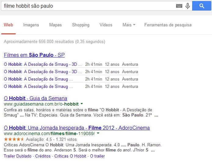 Google pode encontrar salas de cinema (foto: Reprodução/Google)
