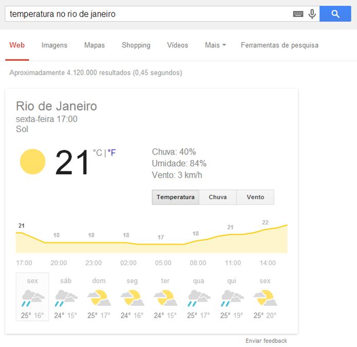 Google pode fornecer temperaturas de várias cidades do mundo (foto: Reprodução/Google)