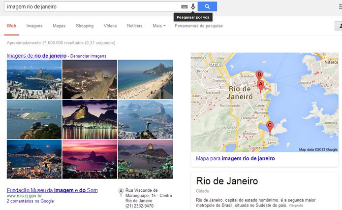 Imagens podem ser localizadas através da busca por voz (foto: Reprodução/Google)