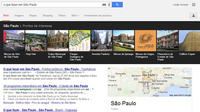 Busca de voz permite que usuário busque roteiros turísticos (foto: Reprodução/Google)