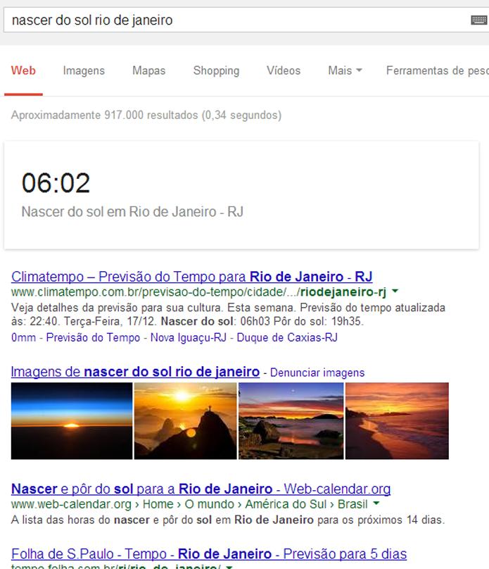 Google pode confirmar o horário do nascimento e por do sol em várias cidades (foto: Reprodução/Google)