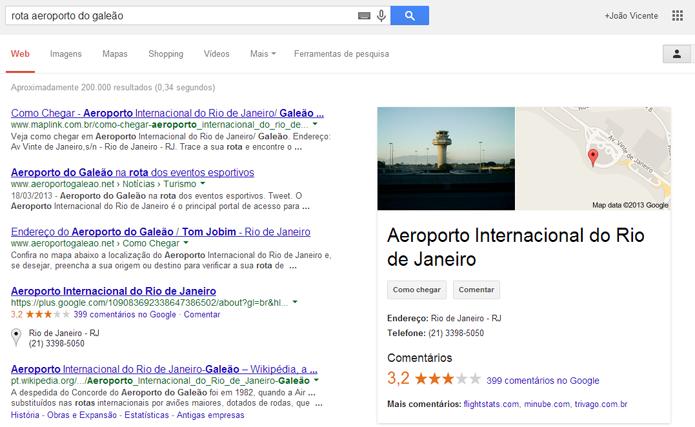 Google pode ajudar a planejar rotas (foto: Reproduão/Google)