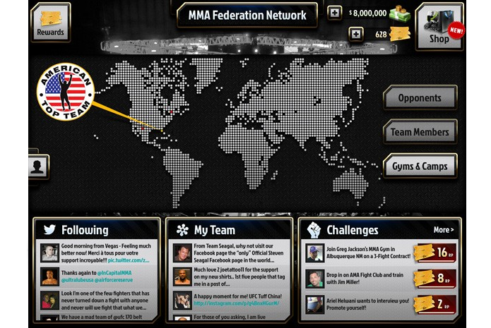 Interface mostra várias possibilidades do game (Foto: Divulgação/MMA Federation)