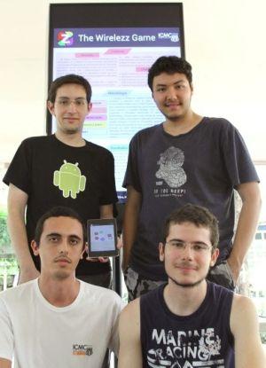 Bruno Orlandi, Gustavo Blanco, Marcus Silva e Nihey Takizawa, do Z Wirelezz Game (Foto: ICMC/USP)