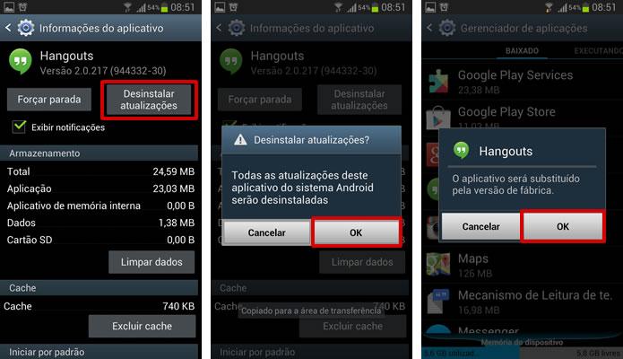 """Selecione o botão """"Desinstalar atualizações"""" para fazer com que apps nativos do Android voltem a ter a sua versão original de fábrica (Foto: Reprodução/Daniel Ribeiro)"""