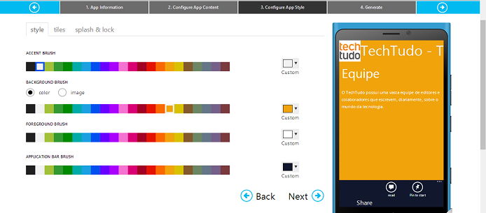 Configure as cores do aplicativo (Foto: Aline Jesus/TechTudo)
