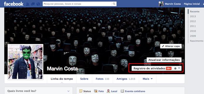 Acessando o registro de atividades do Facebook (Foto: Reprodução/Marvin Costa)