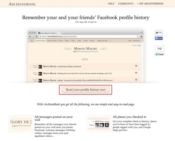 Acessando o site ArchivedBook para permitir que ele se conecte com o Facebook (Foto: Reprodução/Marvin Costa)