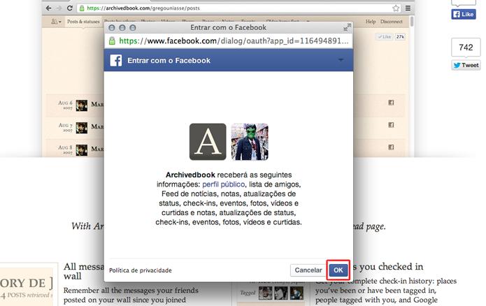 Permitindo o acesso do ArchivedBook ao Facebook (Foto: Reprodução/Marvin Costa)