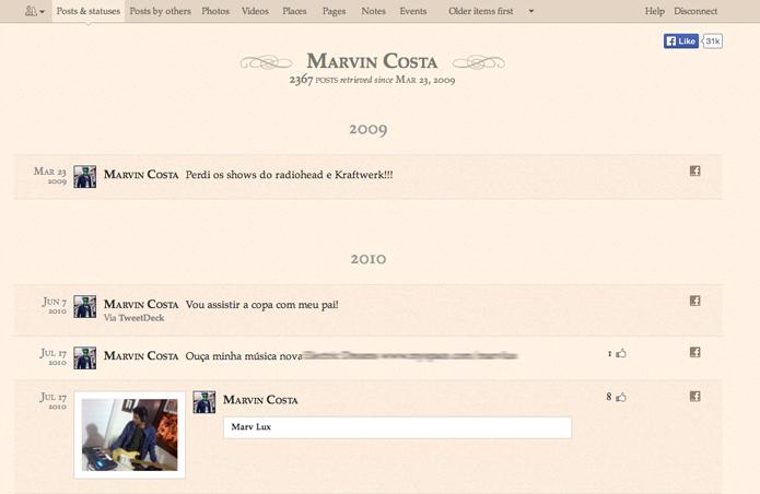 Interface do ArchivedBook com as postagens do Facebook (Foto: Reprodução/Marvin Costa)