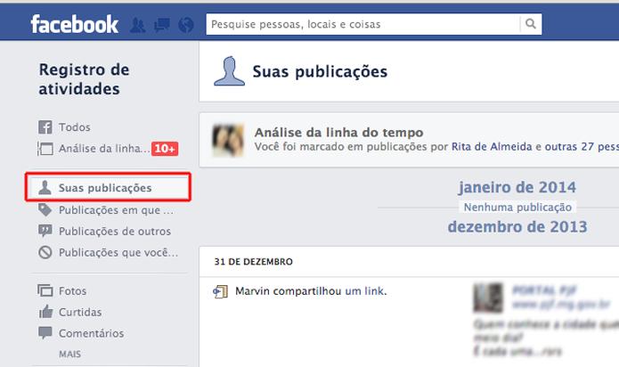 Acessando a aba Suas publicações no Facebook (Foto: Reprodução/Marvin Costa)